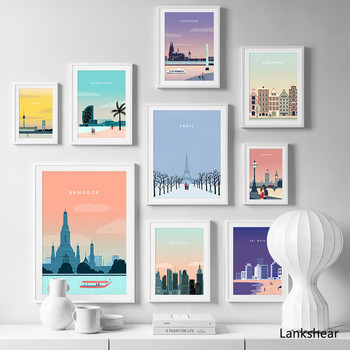 Paris London Berlin Travel Poster Vintage Wall Art Canvas Painting Nordic Posters And Prints Pictures For Living Room Decor