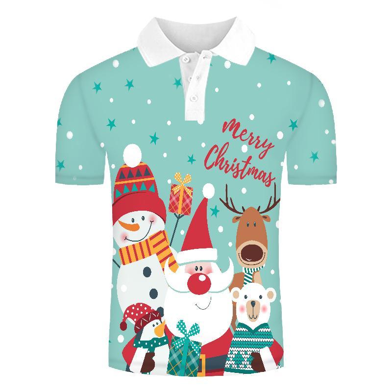 2019 Polo Shirt Men 3d Shirts Christmas Hat Print Casual New Design Men Polo Shirts Summer High Quality Tees Tops Polo Shirts