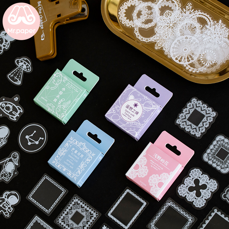 Mr Paper 50pcs/box Flower PET Stickers Pack DIY Posted Kawaii Planner Scrapbooking Stickers Stationery School Supplies Escolar