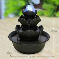 Resin Water Fountains Indoor Decoration Creative Craft Home Decor Home Figurines Feng Shui Water Fountain Office Decoration E $
