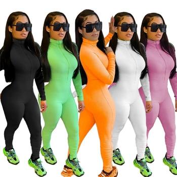 Adogirl Solid Casual Ribbed Jumpsuit Front Zipper Turtleneck Long Sleeve Skinny Romper Women Tracksuit Fitness Romper Overalls bardot flute sleeve florals romper