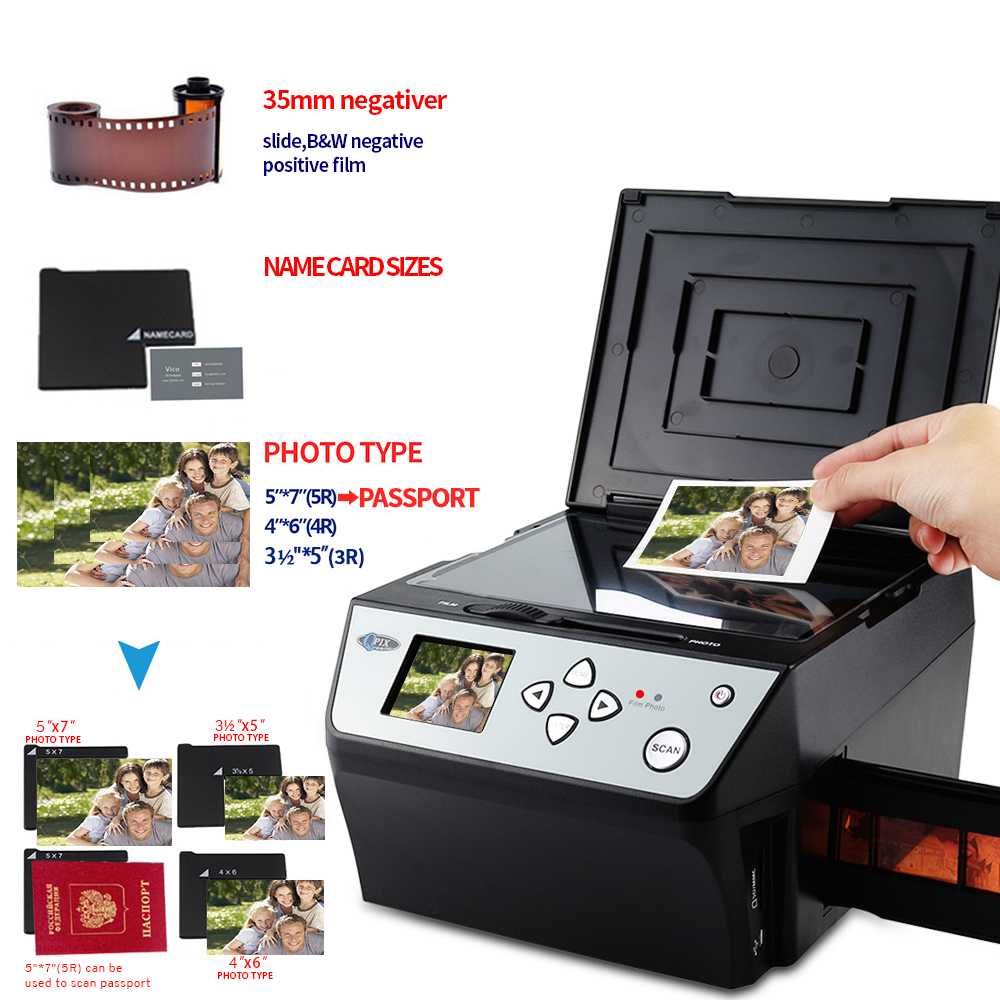 2.4 Pollici 8.1 Mega Pixel Converti 35mm 135 Diapositive Negative Scanner Nome Card Scanner DZSF 4 in 1 Digital Photo Film Scanner
