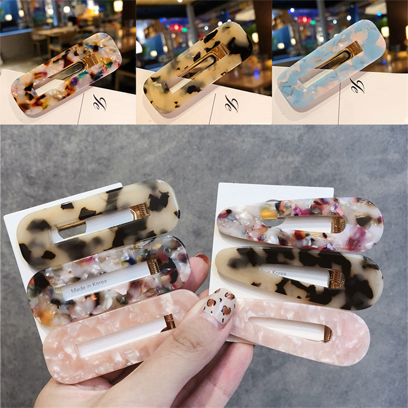 1pcs Vintage Hair Clip for Women Leopard Marble Textured Geometric Water Drop Square Shape Barrette Hairpin Hair Accessories