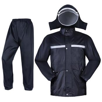 Płaszcz przeciwdeszczowy spodnie moda odblaskowa oddychająca mężczyźni kobiety płaszcz przeciwdeszczowy Outdoor wodoodporny sprzęt przeciwdeszczowy motocykl z kapturem kombinezon przeciwdeszczowy tanie i dobre opinie HZYEYO CN (pochodzenie) polyester nylon BLACK M L XL XXL XXXL