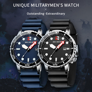 Image 4 - אופנה צבאי שחור גברים שעונים למעלה מותג יוקרה עמיד למים גדול גודל זמן אזור מעגל עיצוב קוורץ שעון גברים Relogio Masculino