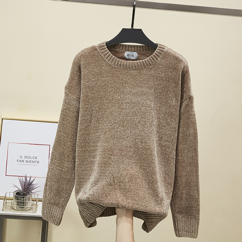 New Round Neck Warn Chenille Sweater Woman Gold Velvet Warn Pullovers Long Sleeve Thick Winter Autumn Basic Tops Streetwear