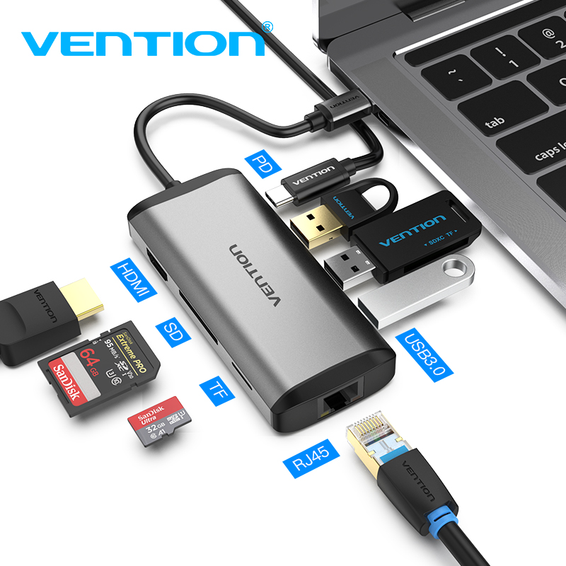 Vention Thunderbolt 3 Dock USB 3.0 Type C To HDMI USB Hub RJ45 For MacBook Pro Nintendo Huawei P30/P20 Samsung Usb C Adapter