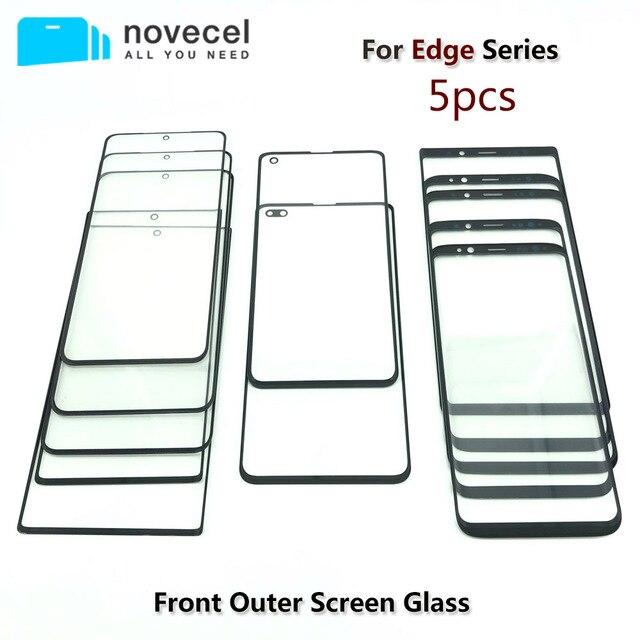 """5 sztuk/partia Novecel AAA przednia zewnętrzna szklana wymiana obiektywu do Samsung Galaxy S20 S8 S9 + plus 5.8 """"G955 G965 6.2"""" uwaga 8 czarny"""