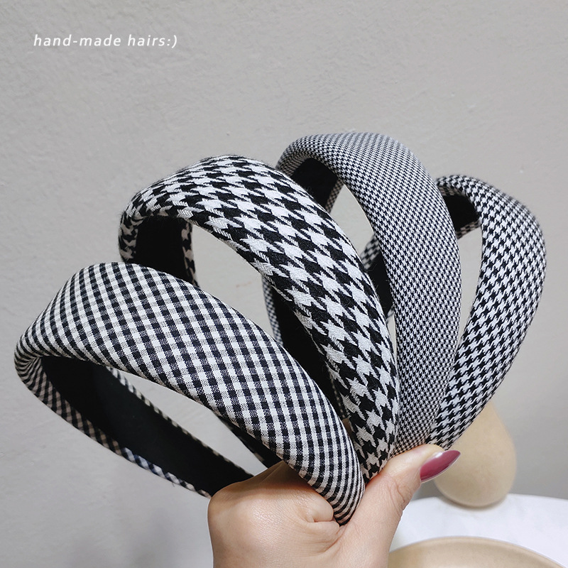 Black Plaid Check Lightly Padded Headband Fall Women Hairband Gingham Head Bezel Hair Hoop Bands Fashion Hair Accessories