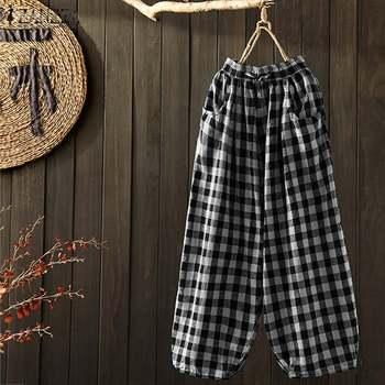 Pantalones de pierna ancha a la moda, pantalones a cuadros para mujer, ZANZEA, pantalones con cintura elástica, Palazzo, cordón para mujer, nabo de talla grande
