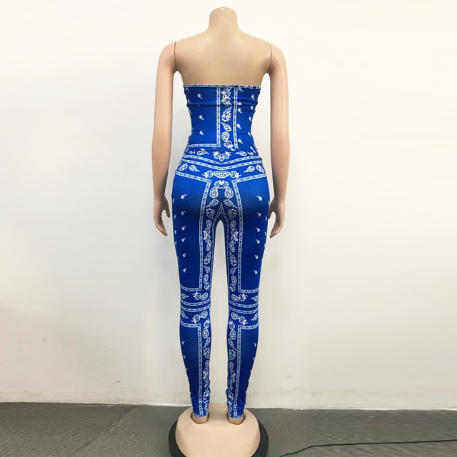 Bonnie Forest Womens Bandana Corset Set (Royal Blue) Sexy Strapless Corset Top And Matching Legging Set Two-Piece Suits Clubwear 5