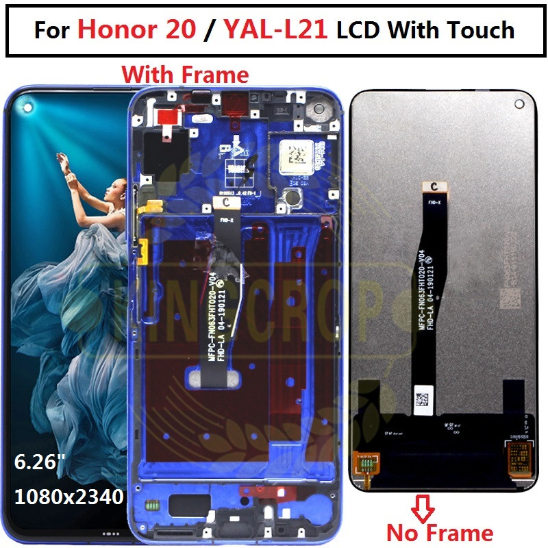 Original for Huawei Honor 20 LCD Display with Frame Screen Touch Digitizer Assembly LCD Displa For YAL L21Touch Repair Parts-in Mobile Phone LCD Screens from Cellphones & Telecommunications    1