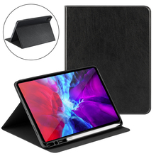 цена на For Apple iPad Pro 11 Case 2020 with Pen Slot Tri-Fold Stand Folio PU Leather Tablet Protector Cover For iPad Pro 12.9 Case 2020
