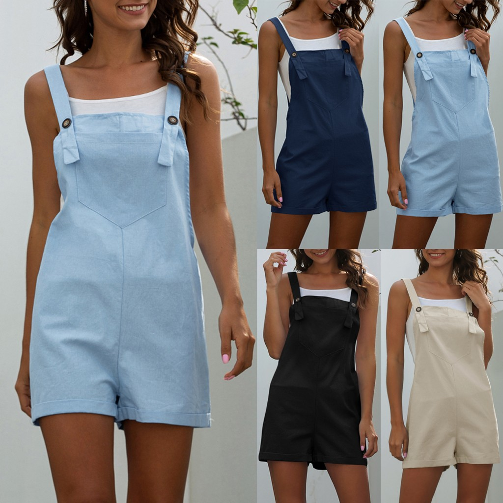 Women Rompers Button Pocket Ladies Solid Playsuits Sexy Backless Straps Short Jumpsuits Summer Casual Loose Overalls