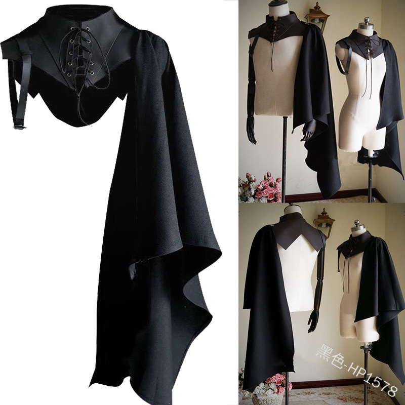 Unisex Medieval Cosplay Accessories Knight Gothic Cape Shawl Hooded Black Vampire Devil Crusader Punk Men Women Cloak Wizard