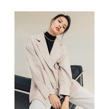 をインマン 2020 春レトロオフィススタイルターンダウン襟ダブルブレストつ折りスリーブ仕立てダウン襟の女性のファッションスーツ