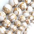 Круглые бусины белого цвета с золотыми линиями Howlite, бирюзовый камень, свободные бусины для самостоятельного изготовления ювелирных издели...