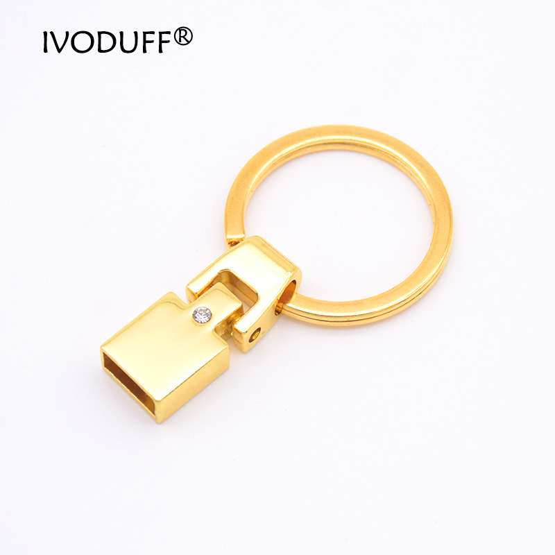 5x Zinc Alloy Key Fob Hardware 10MM For Leather Keychain Making,DIY Keychain Metal Part With Diamond