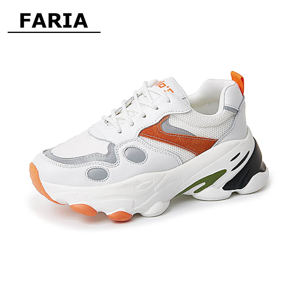 2020new spring summer Breathable shoes flat platform Trainers Women's white chunky  sneakers loafers women's Female  mesh shoes