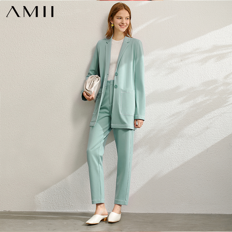 Amii Minimalist Spring Office Lady Two Pieces Set Women Fashion Lapel Solid Blazer High Waist Pants Female 12060901