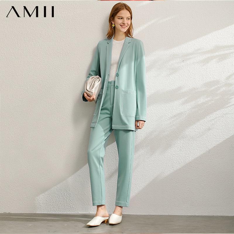 Amii minimalista primavera Oficina señora conjunto de dos piezas mujeres marca de moda sólido Blazer alta cintura Pantalones mujer 12060901