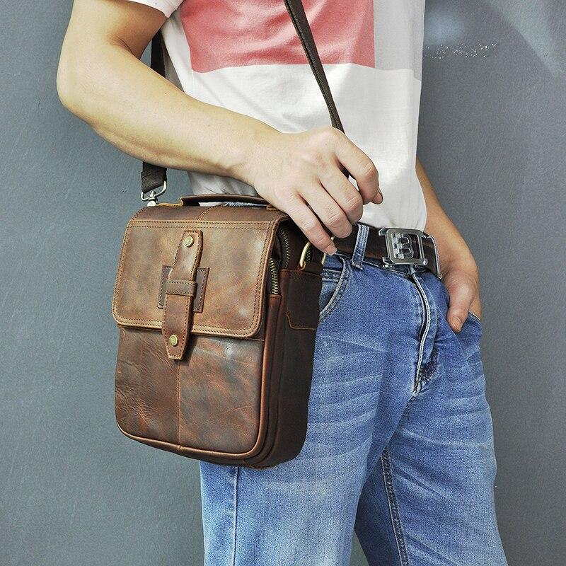 Qualidade de couro masculino design casual ombro