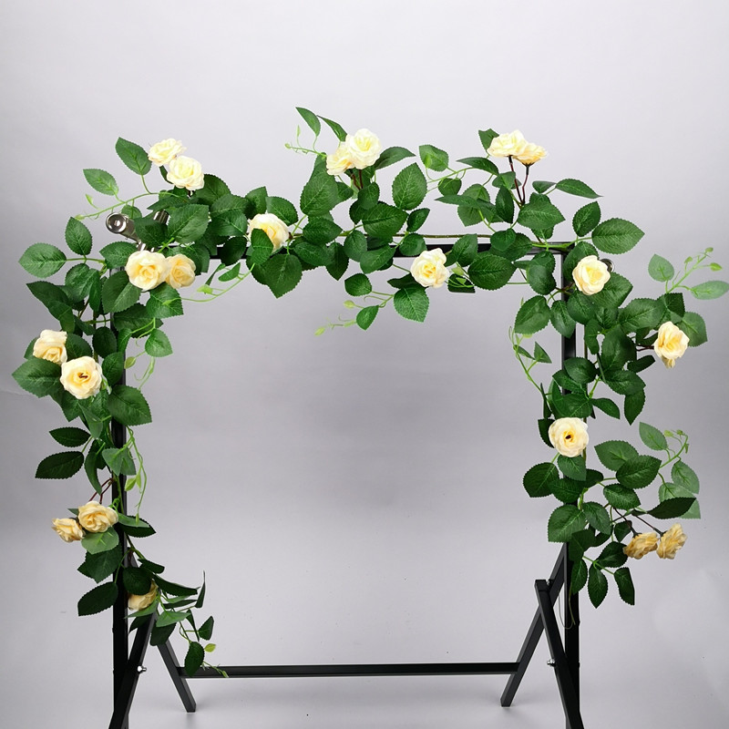 160cm Large Artificial Rose Vine Green Silk Cloth Plants Rattan Wedding Garden Living Room Fence Decoration Plant Wall Material