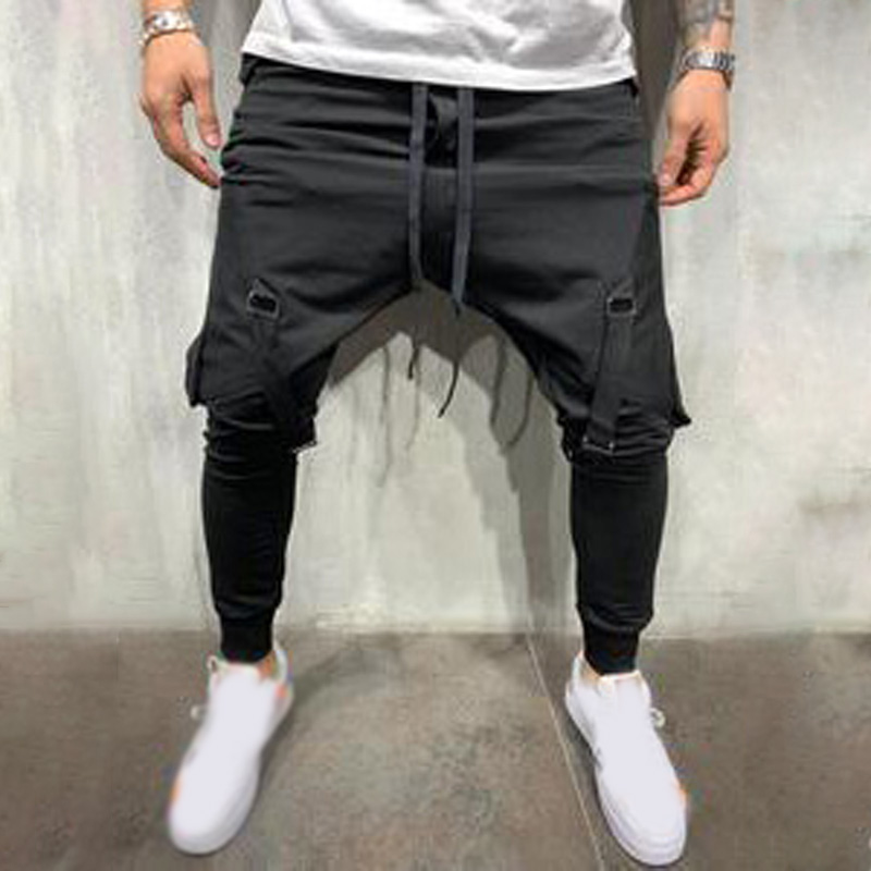 Mens Trousers Sweat-Pants Pocket Slim-Fit Combat Elasticated Hip-Hop-Style Jogging-Sports