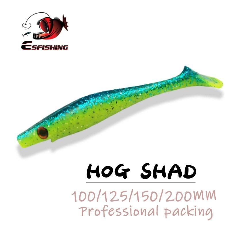 ESFISHING New Hog Shad 100mm 125mm 150mm 200m Fishing Lures  Sea Big Bait Soft Lure Paddle Tail Silicon Bait Sea Fishing