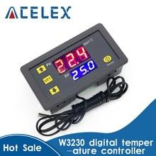 W3230 12v 24v AC110-220V sonda linha 20a controle de temperatura digital display led termostato com calor/refrigeração controle instrumento