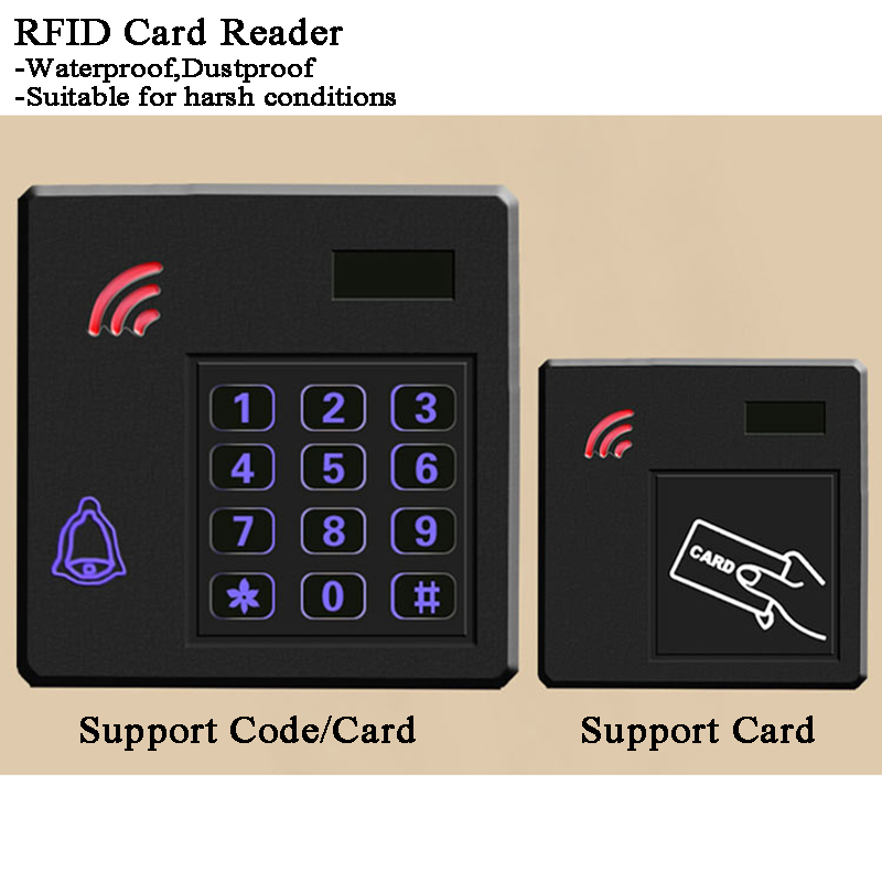 12V Garage RFID Door Lock Card Reader Digital Electric Lock 125 13.56MHz Wiegand 34/26 Door Video Intercom Home Access Control