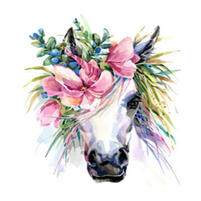 Oil Painting By Numbers beautiful Flowers on a horse\'s head HandPainted Kits Drawing Canvas DIY Pictures Home Decoration Gift-0