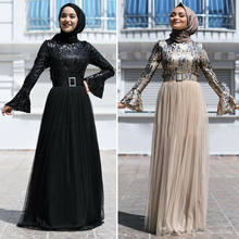 Fashion Sequines Women Muslim Abaya Long Sleeve Maxi Dress Kaftan Cocktail Party Robe Gown Dubai Islamic Clothing Middle East(China)