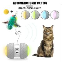 New Automatic Pet Toy Two wheel Drive USB Car Toy Interactive LED Colorful Light Automatic Funny Cat Stick for dog kitten