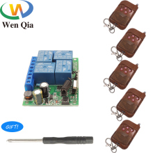 433Mhz Universal Wireless Remote Control RF Switch DC 12V 4CH Relay Receiver Module and 4Buttons RF Transmitter Light Switch DIY