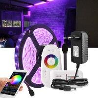 Tira de LED 5050 RGB/RGBW/RGBWW 5M tira de cinta luminosa LED impermeable Wifi + mando a distancia + adaptador de corriente de 12V 3A