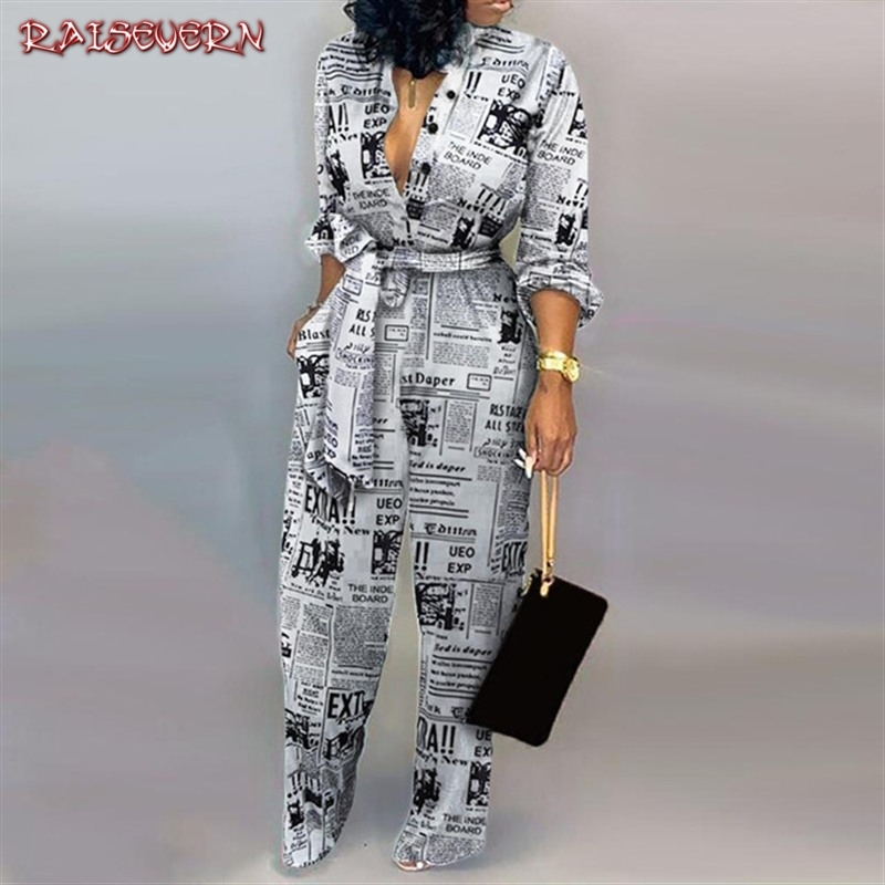 Women Autumn Sexy Deep V Neck Long Sleeves Overalls Newspaper Leopard Print   Jumpsuit   Elegant Camouflage Print One Piece Rompers