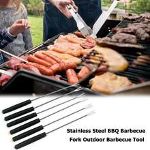 Barbeque Stick Stainless Steel Kebab Plastic Handle Roasting Fork Reusable Kitchen Household Outdoor Camping Picnic Cooking Tool(China)
