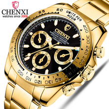 цены на CHENXI Male Golden Wristwatches For Men Watches Casual Quartz Watch Luxury Brand Waterproof Clock Man Relogio Masculino в интернет-магазинах