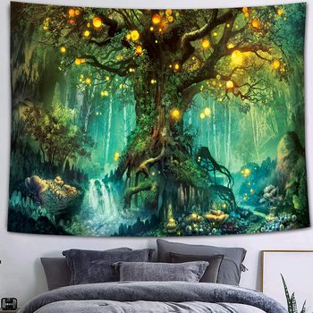 Simsant Mushroom Forest Castle Tapestry Fairytale Trippy Colorful Butterfly Wall Hanging Tapestry for Home Dorm Fantasy Decor 38