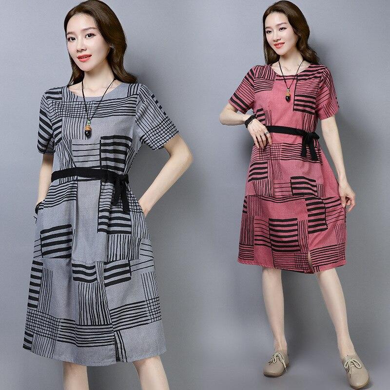 Photo Shoot 2019 Cotton Linen Dress Women's Summer New Style WOMEN'S Dress Printed Joint Short Sleeve Skirt Belt Large Size Dres