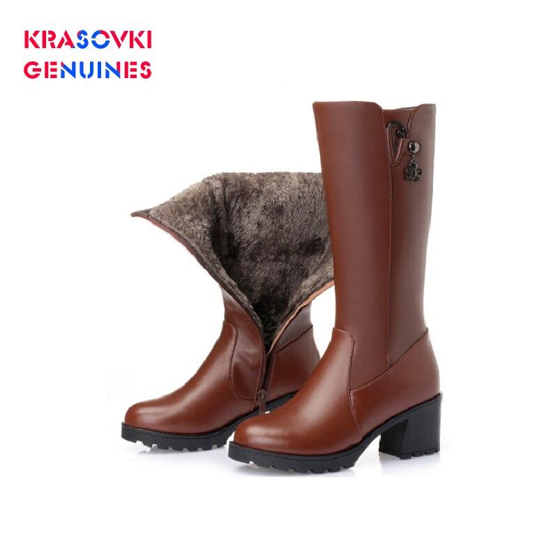 Krasovki Genuines Wool Women Snow Boots Warm Genuine Leather Fur Warm Fashion Plush High Boots Platform for Women Winter Boots