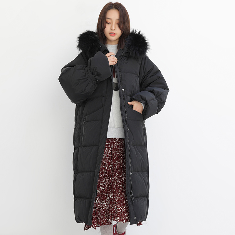 90% White Duck   Down   Jacket 2019 Real Natural Fur Collar Winter Jacket Women Female Thick Warm   Coat   Loose Hooded   Down   Parka