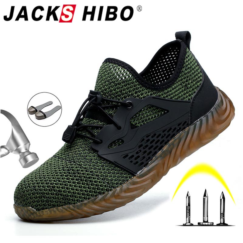 JACKSHIBO Breathable Work Shoes Boots For Men Protective Steel Toe Cap Boots Anti-Smashing Construction Safety Work Sneakers
