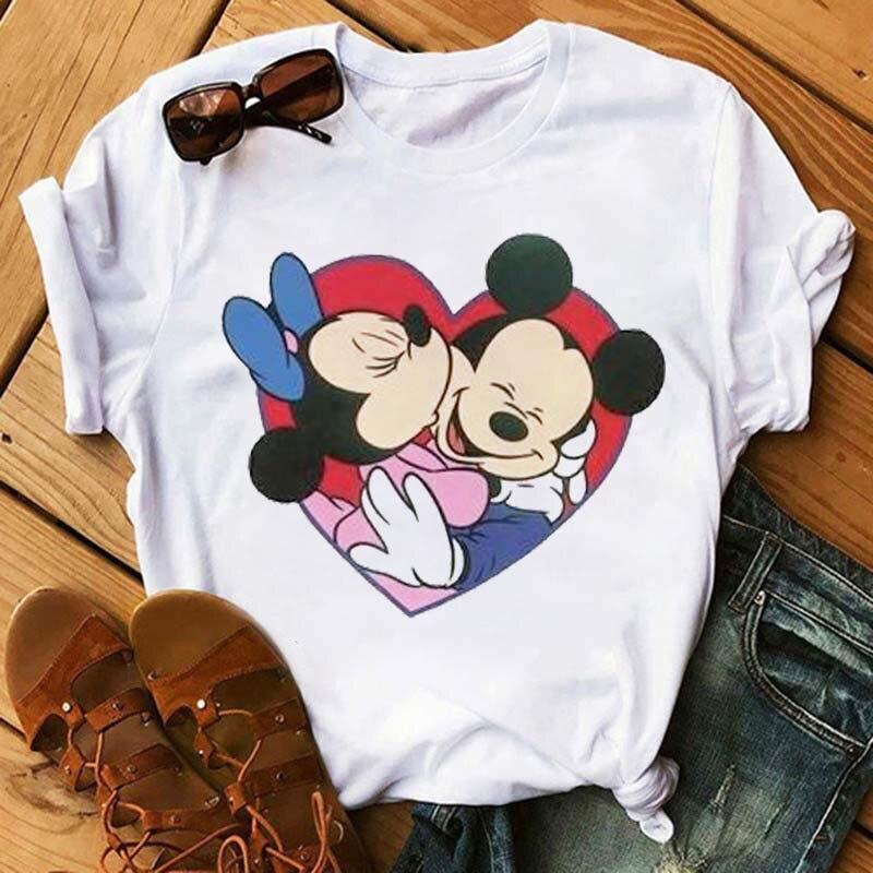 Maycaur New Women T Shirts Fashion Minnie Print Shirts Harajuku Kawaii Mouse Kiss Print T Shirt Lovely Funny Aesthetic Tshirts