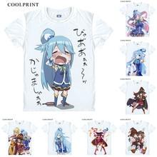 Футболка Kono Subarashii Sekai ni Shukufuku wo Konosuba футболка Aqua Megumin аниме маскарадный костюм футболка с короткими рукавами и принтом