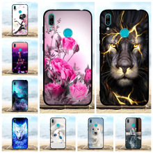 For Huawei Enjoy 9 Case Soft TPU Silicone Y7 2019 Cover Lion Patterned Pro Prime Bumper