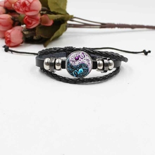Yin Yang Tai Chi Crystal Glass Corolla Bracelet Vintage Woven Leather Jewelry