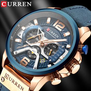 Zegarek męski CURREN Top marka luksusowy zegarek sportowy moda męska zegarki skórzane z datą dla mężczyzn męski zegar tanie i dobre opinie 24cm Moda casual QUARTZ 3Bar Sprzączka CN (pochodzenie) STOP 14mm Hardlex Kwarcowe zegarki 48mm 8329 24mm ROUND Kompletny kalendarz