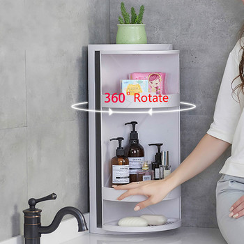 New 360 Rotating Bathroom Storage Rack Kitchen Corner Organizer Shelf Free Punching PP Gap Holder Shower tray Wall Mounted Type